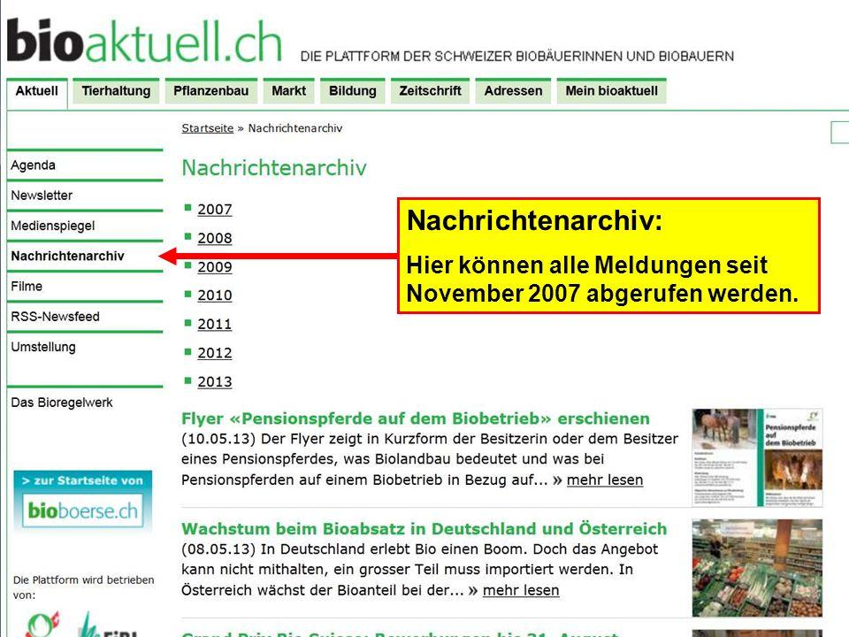 Nachrichtenarchiv: Hier können alle Meldungen seit November 2007 abgerufen werden.