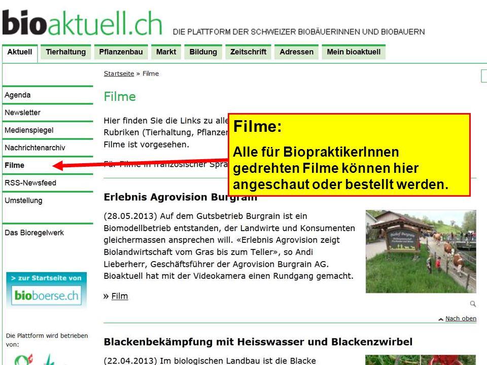 Filme: Alle für BiopraktikerInnen gedrehten Filme können hier angeschaut oder bestellt werden.