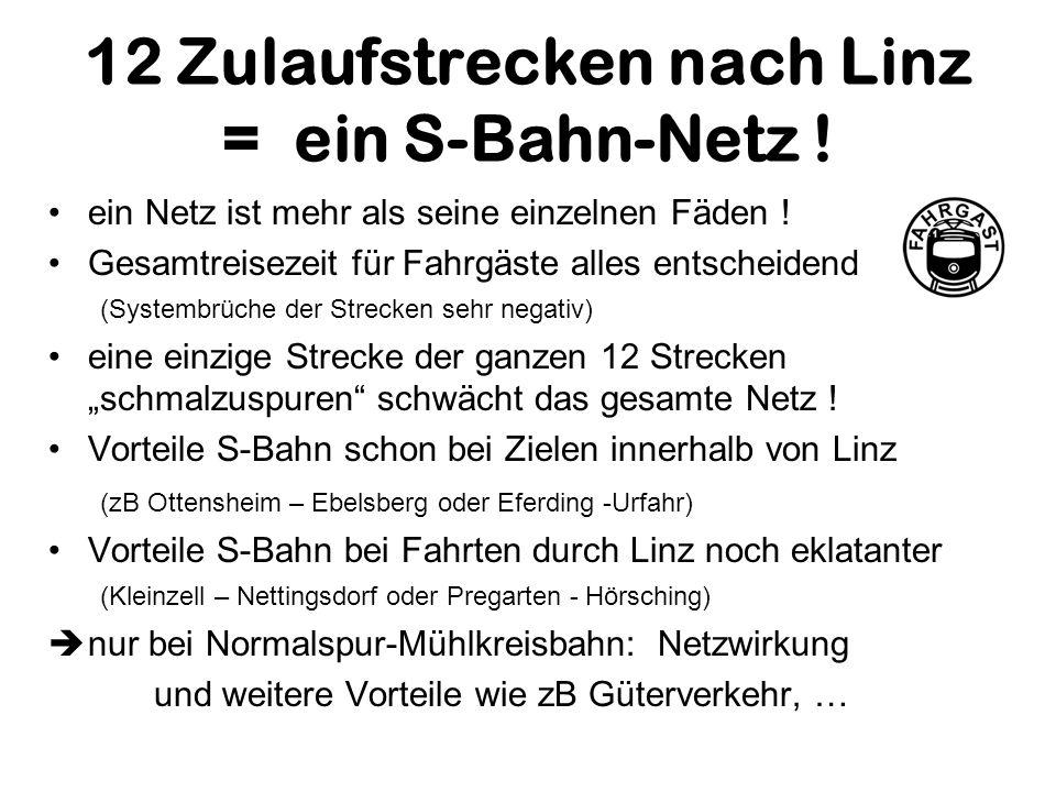 12 Zulaufstrecken nach Linz = ein S-Bahn-Netz ! ein Netz ist mehr als seine einzelnen Fäden ! Gesamtreisezeit für Fahrgäste alles entscheidend (System