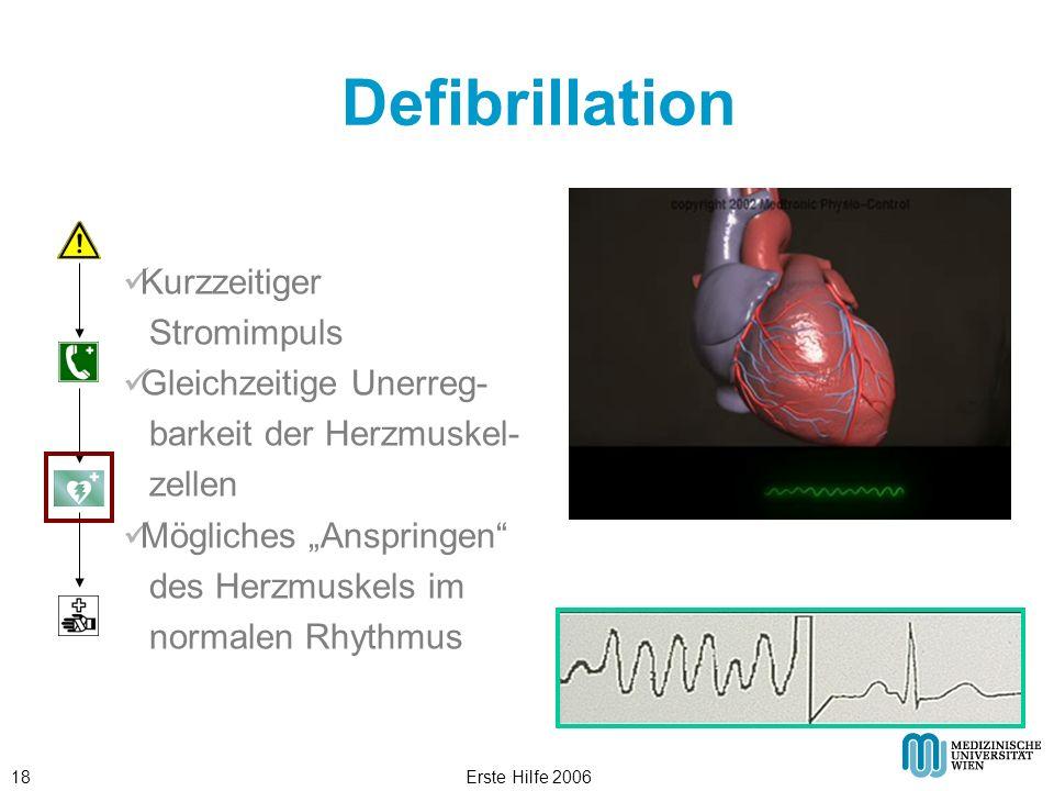 Erste Hilfe 200618 Defibrillation Kurzzeitiger Stromimpuls Gleichzeitige Unerreg- barkeit der Herzmuskel- zellen Mögliches Anspringen des Herzmuskels