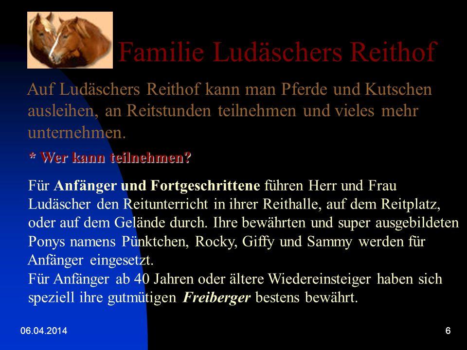 06.04.20146 Familie Ludäschers Reithof Auf Ludäschers Reithof kann man Pferde und Kutschen ausleihen, an Reitstunden teilnehmen und vieles mehr unternehmen.