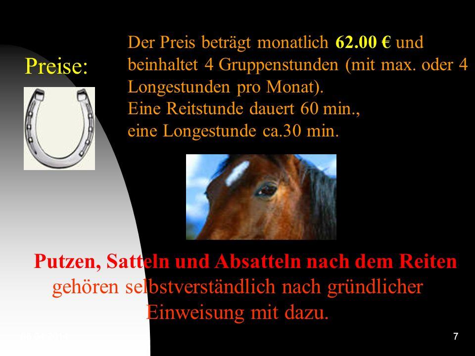 06.04.20147 Preise: Der Preis beträgt monatlich 62.00 und beinhaltet 4 Gruppenstunden (mit max.