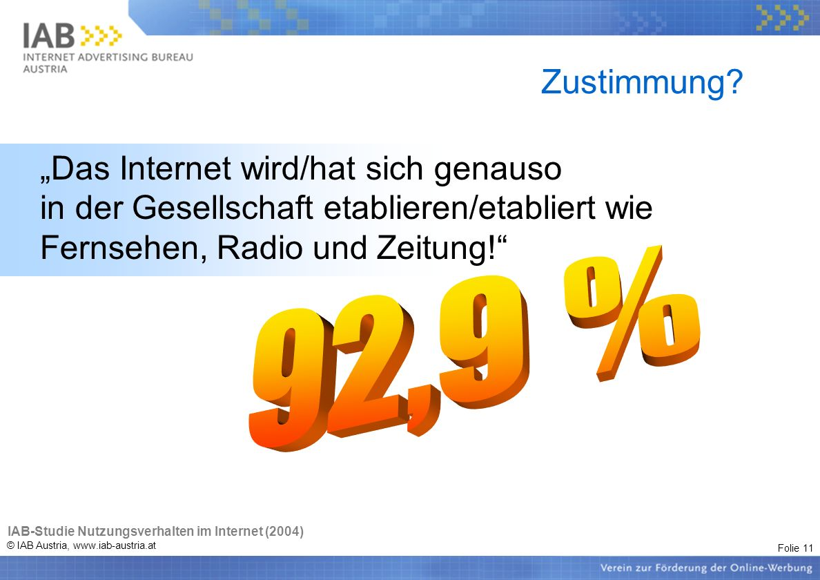 Folie 11 © IAB Austria, www.iab-austria.at Zustimmung? Das Internet wird/hat sich genauso in der Gesellschaft etablieren/etabliert wie Fernsehen, Radi