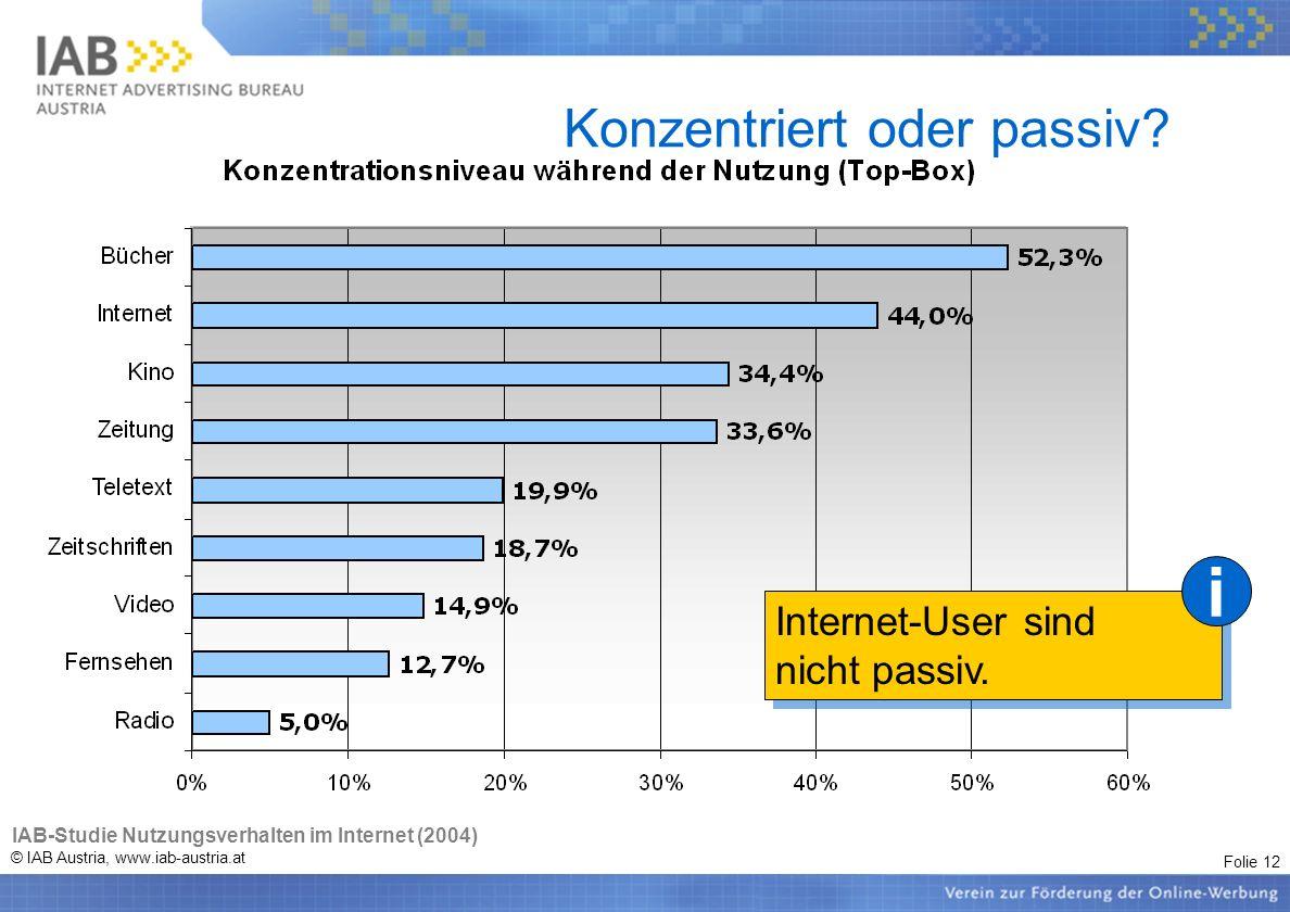 Folie 12 © IAB Austria, www.iab-austria.at Konzentriert oder passiv? Internet-User sind nicht passiv. Internet-User sind nicht passiv. i IAB-Studie Nu