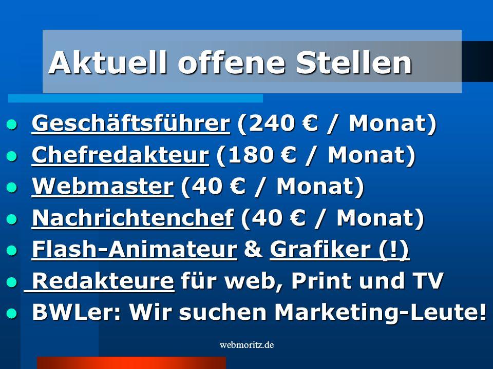 Geschäftsführer (240 / Monat) Geschäftsführer (240 / Monat) Chefredakteur (180 / Monat) Chefredakteur (180 / Monat) Webmaster (40 / Monat) Webmaster (40 / Monat) Nachrichtenchef (40 / Monat) Nachrichtenchef (40 / Monat) Flash-Animateur & Grafiker (!) Flash-Animateur & Grafiker (!) Redakteure für web, Print und TV Redakteure für web, Print und TV BWLer: Wir suchen Marketing-Leute.