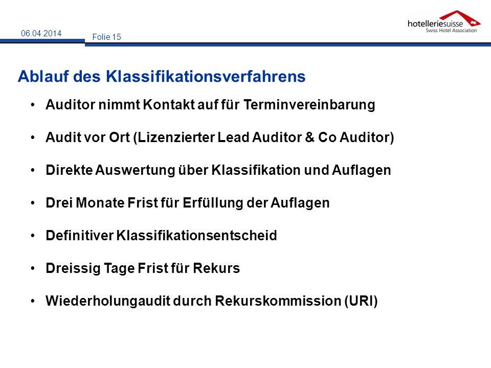 Ablauf des Klassifikationsverfahrens Folie 15 06.04.2014 Auditor nimmt Kontakt auf für Terminvereinbarung Audit vor Ort (Lizenzierter Lead Auditor & C