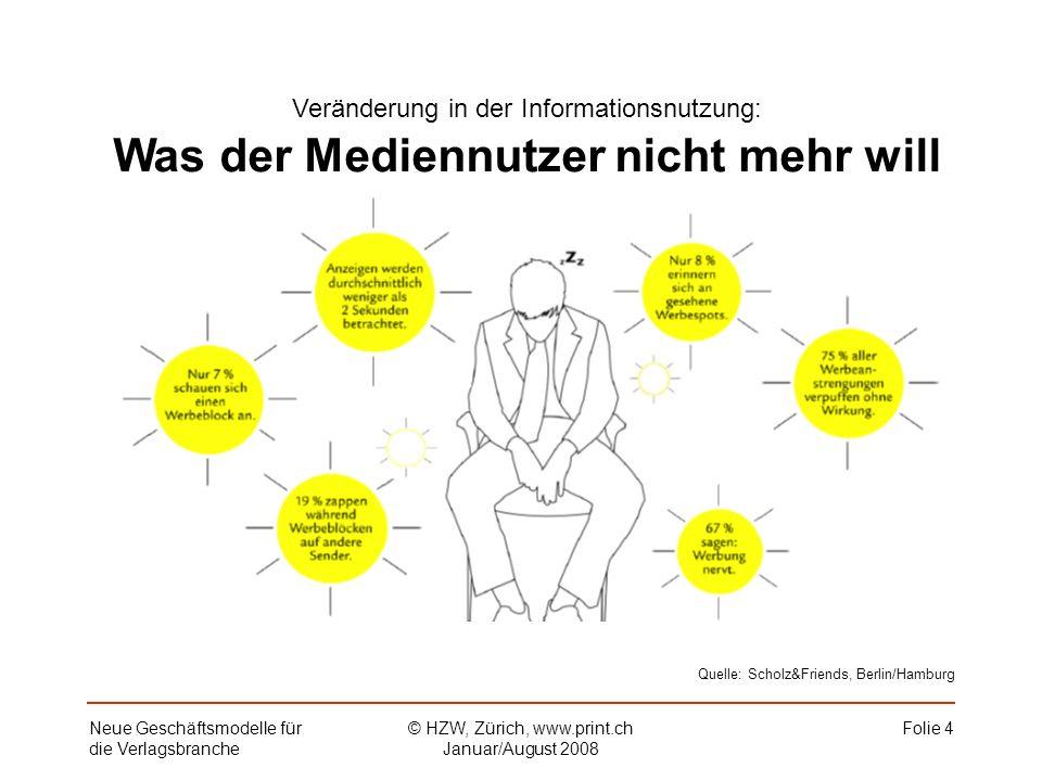 Folie 4Neue Geschäftsmodelle für die Verlagsbranche © HZW, Zürich, www.print.ch Januar/August 2008 Veränderung in der Informationsnutzung: Was der Mediennutzer nicht mehr will Quelle: Scholz&Friends, Berlin/Hamburg