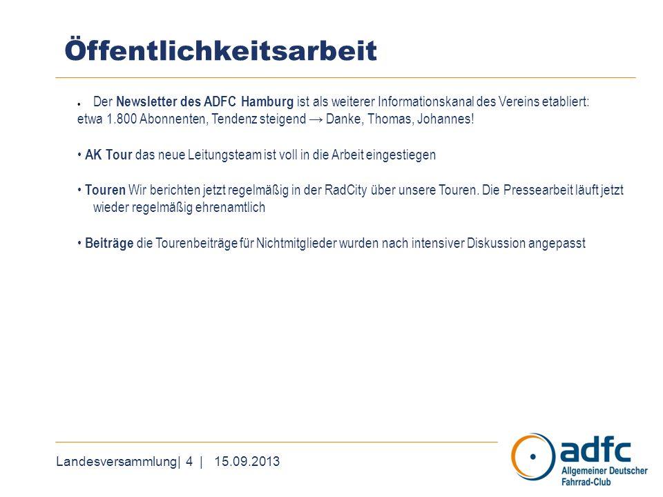Landesversammlung| 4 | 15.09.2013 Öffentlichkeitsarbeit Der Newsletter des ADFC Hamburg ist als weiterer Informationskanal des Vereins etabliert: etwa 1.800 Abonnenten, Tendenz steigend Danke, Thomas, Johannes.