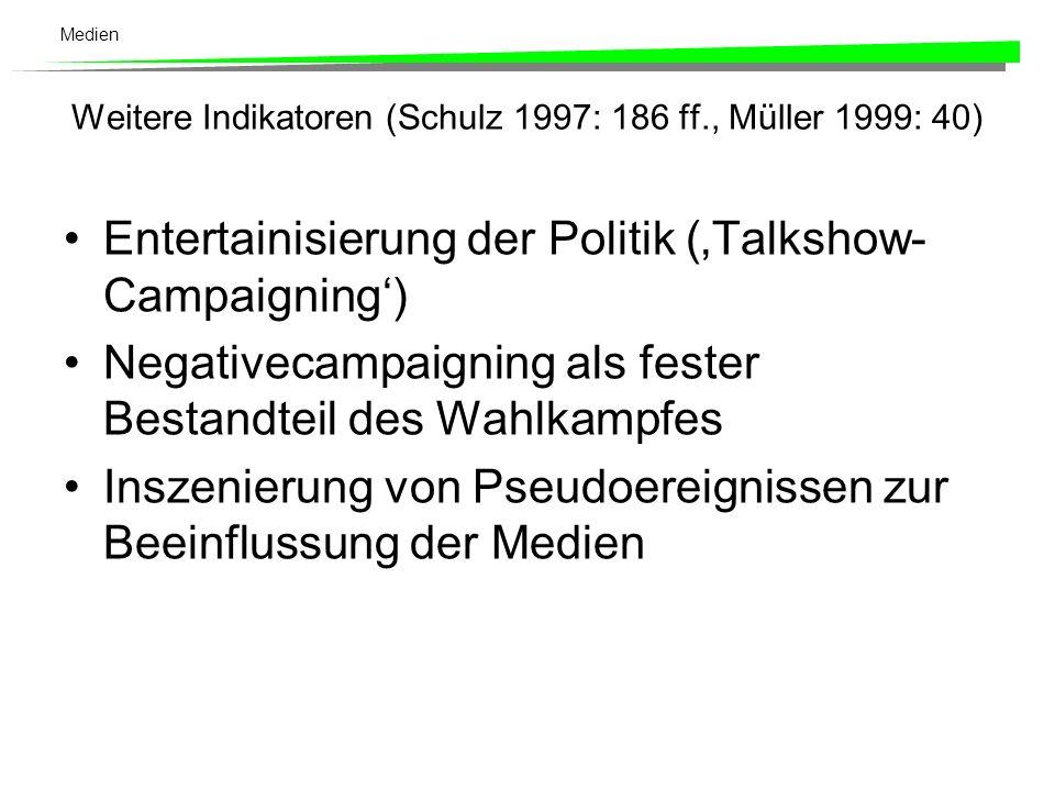 Medien Amerikanisierung von Wahlkämpfe (vgl. Radunski 1980: 151) Der Kandidat ist wichtiger als die Partei. Die Wahlkampfführung liegt bei professione