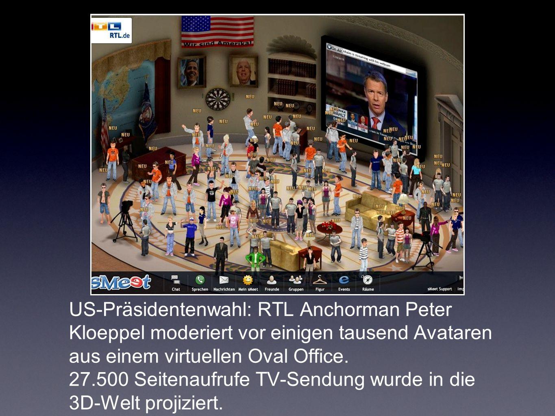 US-Präsidentenwahl: RTL Anchorman Peter Kloeppel moderiert vor einigen tausend Avataren aus einem virtuellen Oval Office.