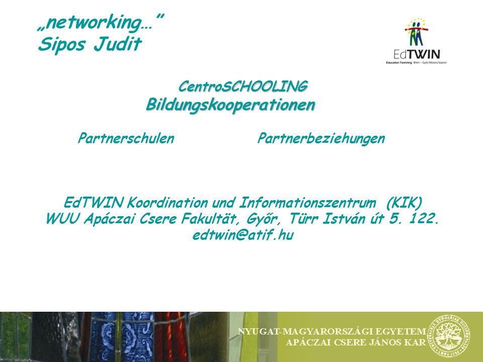 networking… Sipos Judit CentroSCHOOLINGBildungskooperationen Partnerschulen Partnerbeziehungen EdTWIN Koordination und Informationszentrum (KIK) WUU A