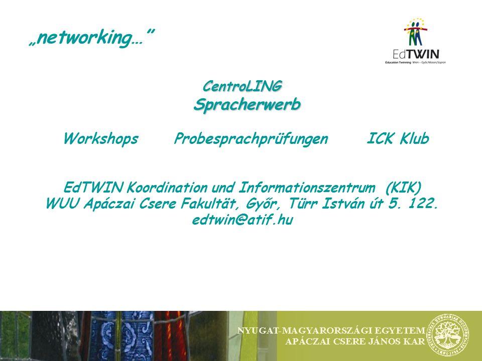networking… CentroLINGSpracherwerb WorkshopsProbesprachprüfungenICK Klub EdTWIN Koordination und Informationszentrum (KIK) WUU Apáczai Csere Fakultät,