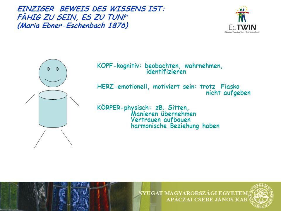 EINZIGER BEWEIS DES WISSENS IST: F Ä HIG ZU SEIN, ES ZU TUN! (Maria Ebner-Eschenbach 1876) KOPF-kognitiv: beobachten, wahrnehmen, identifizieren HERZ-