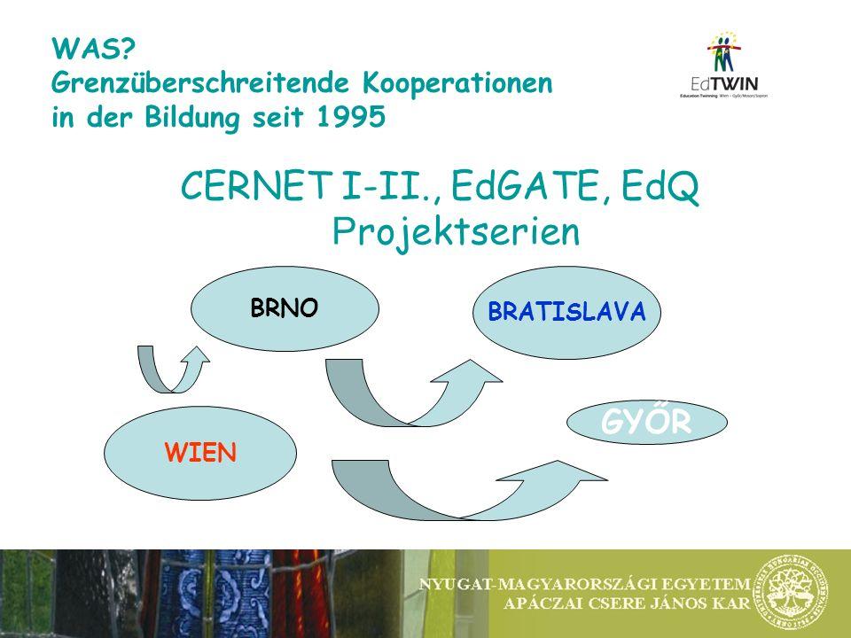 WAS? Grenzüberschreitende Kooperationen in der Bildung seit 1995 CERNET I-II., EdGATE, EdQ P rojektserien WIEN BRNO BRATISLAVA GYŐR
