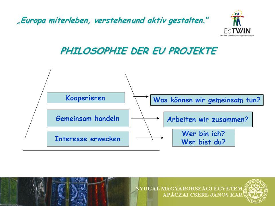 PHILOSOPHIE DER EU PROJEKTE Interesse erwecken Gemeinsam handeln Kooperieren Wer bin ich? Wer bist du? Arbeiten wir zusammen? Was können wir gemeinsam