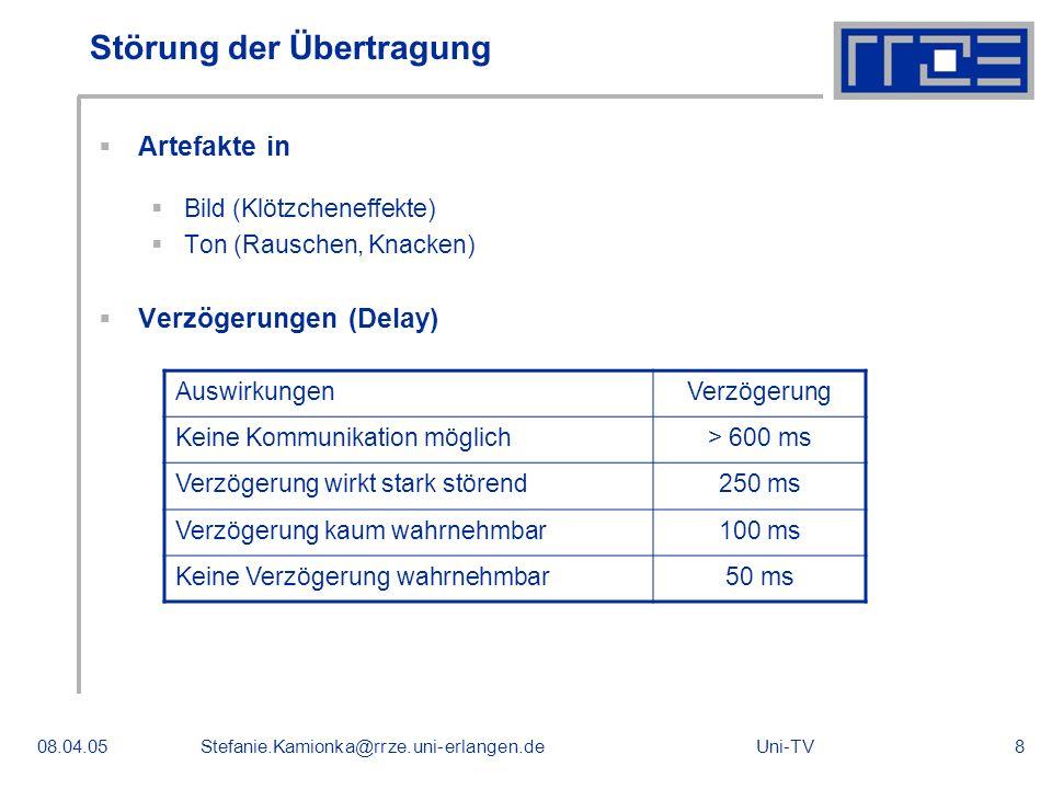 Uni-TV08.04.05Stefanie.Kamionka@rrze.uni-erlangen.de8 Störung der Übertragung Artefakte in Bild (Klötzcheneffekte) Ton (Rauschen, Knacken) Verzögerung