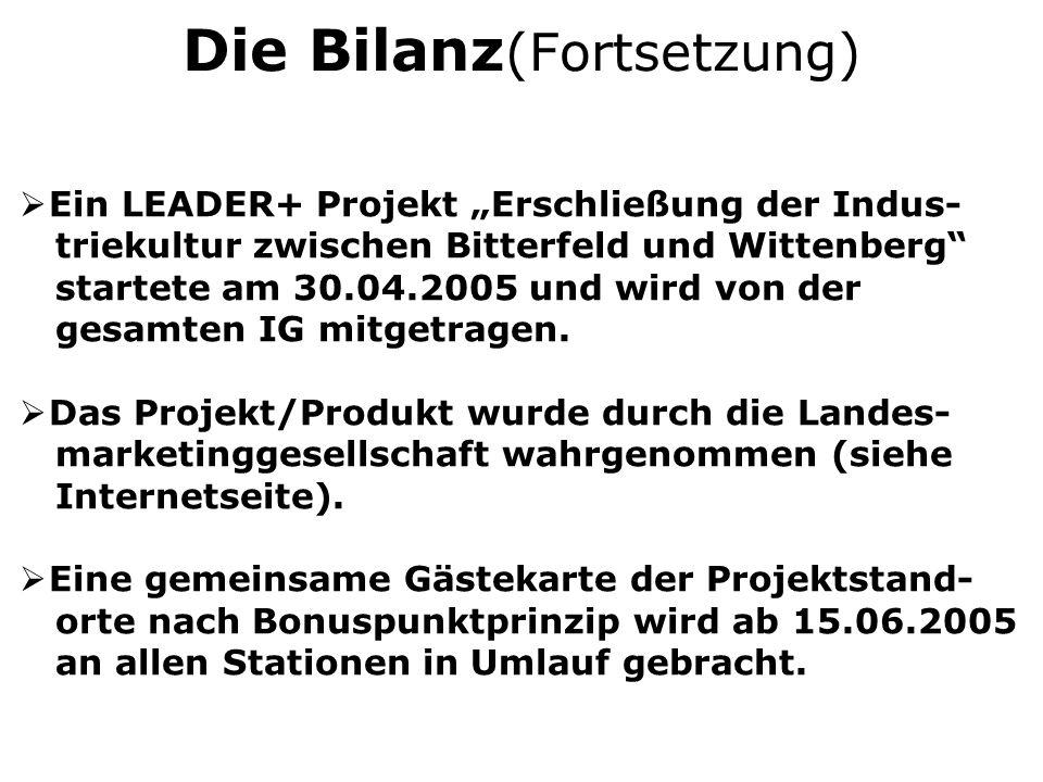 Die Bilanz (Fortsetzung) Ein LEADER+ Projekt Erschließung der Indus- triekultur zwischen Bitterfeld und Wittenberg startete am 30.04.2005 und wird von