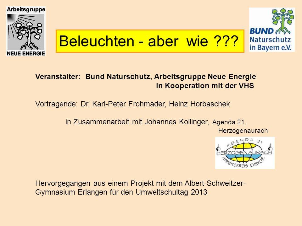 Beleuchten - aber wie ??? Veranstalter: Bund Naturschutz, Arbeitsgruppe Neue Energie in Kooperation mit der VHS Vortragende: Dr. Karl-Peter Frohmader,
