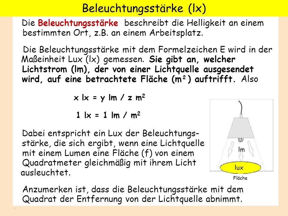 DieBeleuchtungsstärke beschreibt die Helligkeit an einem bestimmten Ort, z.B. an einem Arbeitsplatz. Die Beleuchtungsstärke mit dem Formelzeichen E wi