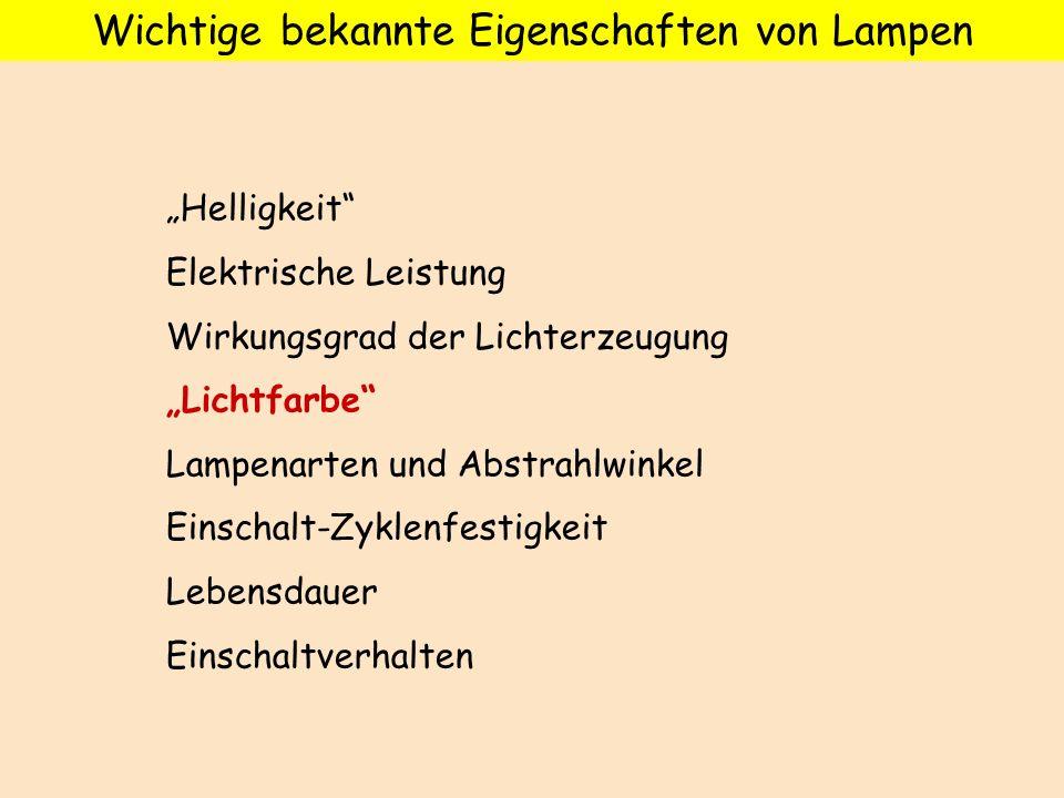 Wichtige bekannte Eigenschaften von Lampen Helligkeit Elektrische Leistung Wirkungsgrad der Lichterzeugung Lichtfarbe Lampenarten und Abstrahlwinkel E