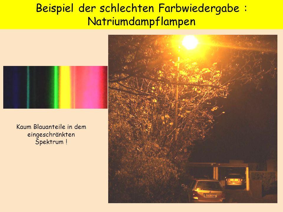 Beispiel der schlechten Farbwiedergabe : Natriumdampflampen Kaum Blauanteile in dem eingeschränkten Spektrum !