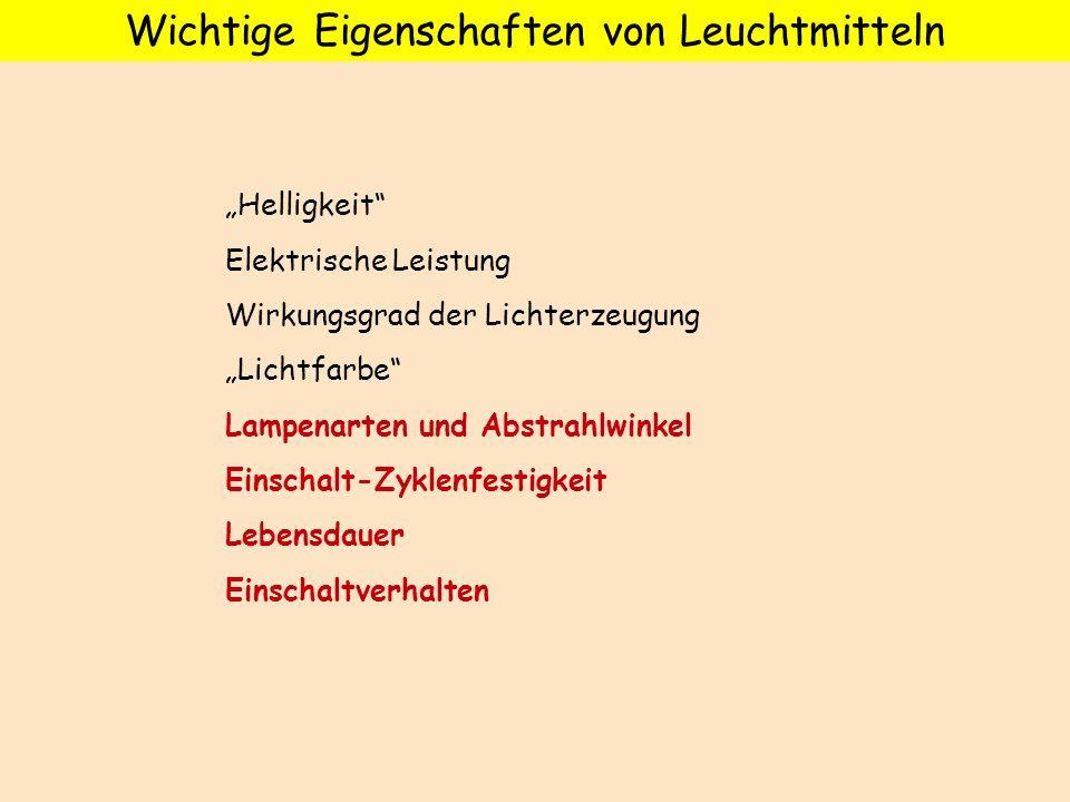 Helligkeit Elektrische Leistung Wirkungsgrad der Lichterzeugung Lichtfarbe Lampenarten und Abstrahlwinkel Einschalt-Zyklenfestigkeit Lebensdauer Einsc