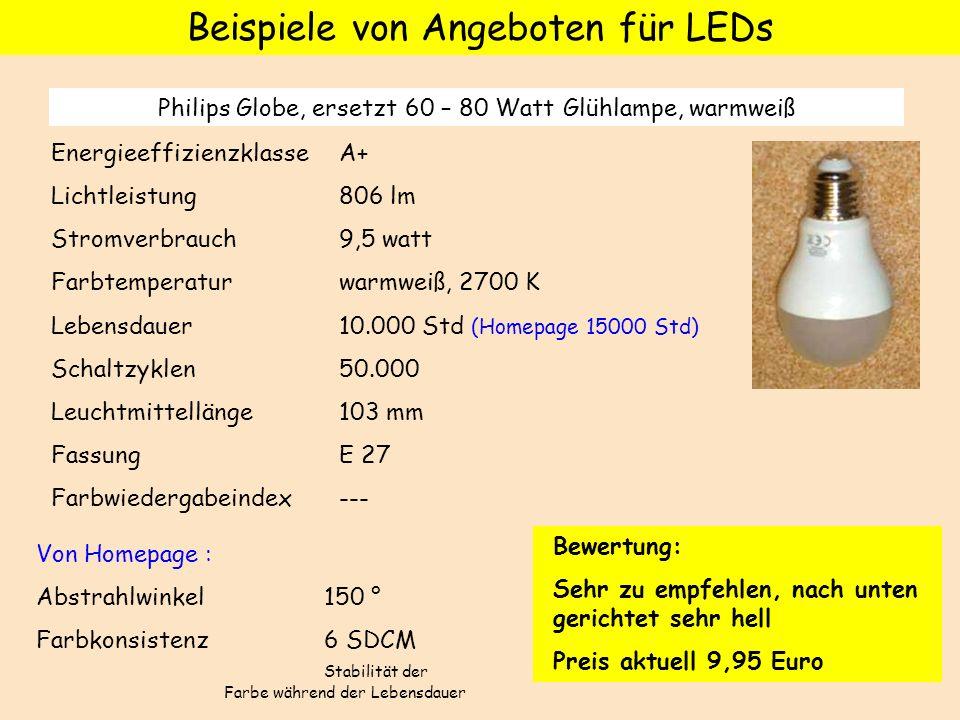 Beispiele von Angeboten für LEDs Philips Globe, ersetzt 60 – 80 Watt Glühlampe, warmweiß Energieeffizienzklasse A+ Lichtleistung 806 lm Stromverbrauch