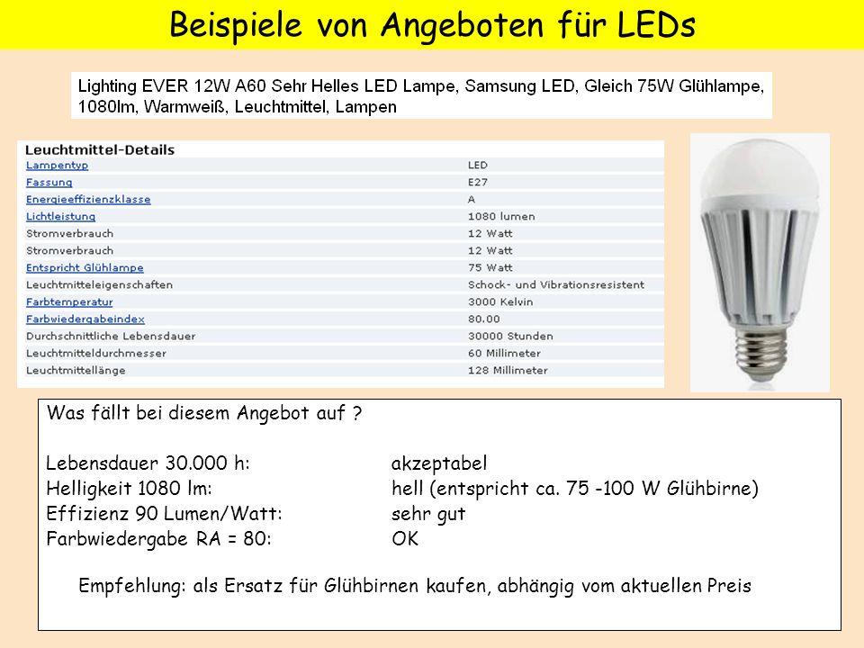 Was fällt bei diesem Angebot auf ? Lebensdauer 30.000 h: akzeptabel Helligkeit 1080 lm: hell (entspricht ca. 75 -100 W Glühbirne) Effizienz 90 Lumen/W