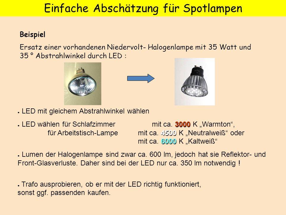 Beispiel Ersatz einer vorhandenen Niedervolt- Halogenlampe mit 35 Watt und 35 ° Abstrahlwinkel durch LED : Einfache Abschätzung für Spotlampen LED mit