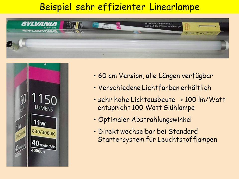 Beispiel sehr effizienter Linearlampe 60 cm Version, alle Längen verfügbar Verschiedene Lichtfarben erhältlich sehr hohe Lichtausbeute > 100 lm/Watt e