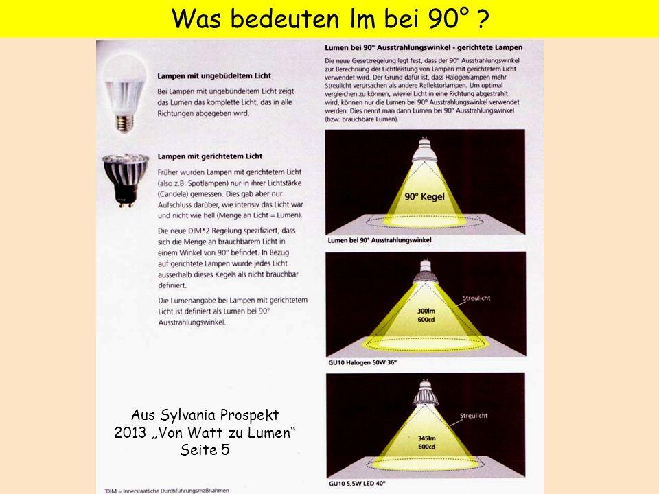 Was bedeuten lm bei 90° ? Aus Sylvania Prospekt 2013 Von Watt zu Lumen Seite 5