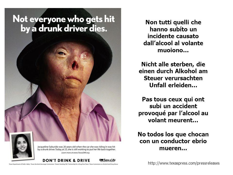 Non tutti quelli che hanno subíto un incidente causato dallalcool al volante muoiono… Nicht alle sterben, die einen durch Alkohol am Steuer verursacht