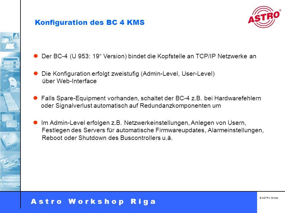 A s t r o W o r k s h o p R i g a © ASTRO Strobel Der BC-4 (U 953: 19 Version) bindet die Kopfstelle an TCP/IP Netzwerke an Die Konfiguration erfolgt