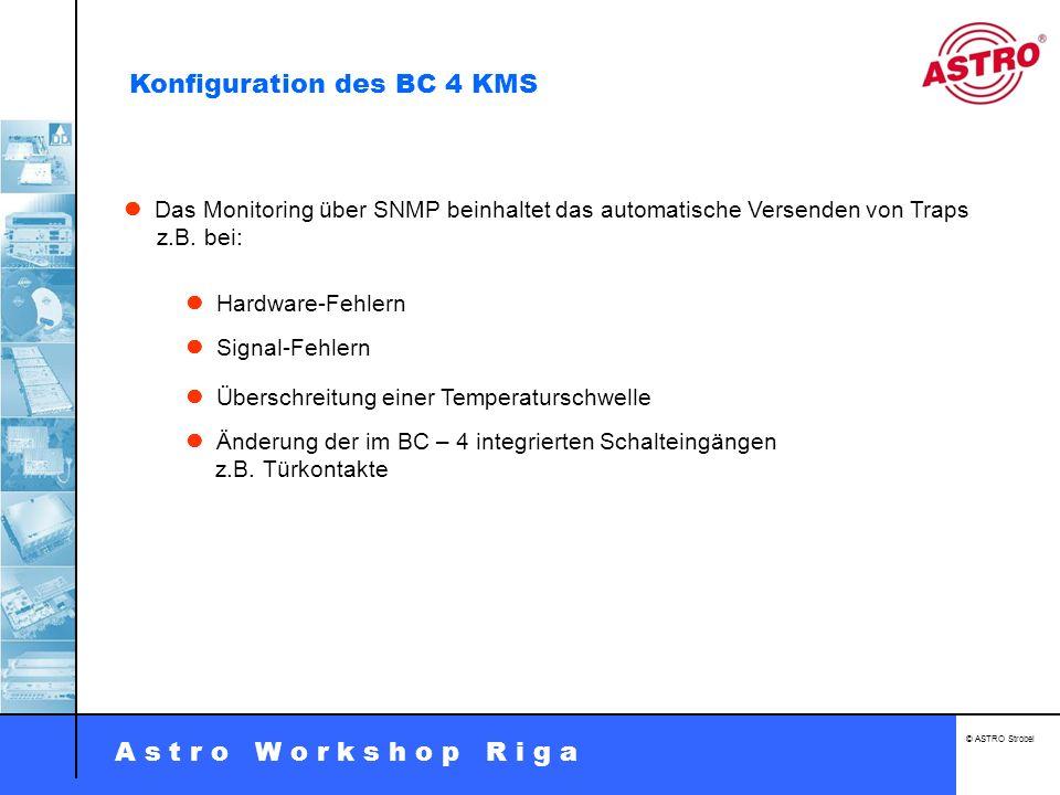 A s t r o W o r k s h o p R i g a © ASTRO Strobel Das Monitoring über SNMP beinhaltet das automatische Versenden von Traps z.B. bei: Hardware-Fehlern
