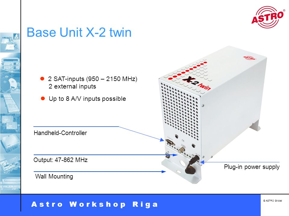 A s t r o W o r k s h o p R i g a © ASTRO Strobel Sat-Distribution U 911 Different Types: 2 x 1 in 8 1 x 1 in 16 1 x 1 in 8 Tilt and gain programmable Monitoring of LNB-Power consumption Compatible with ASTRO Bus-System 75 or 50 impedance Polarization isolation > 40 dB