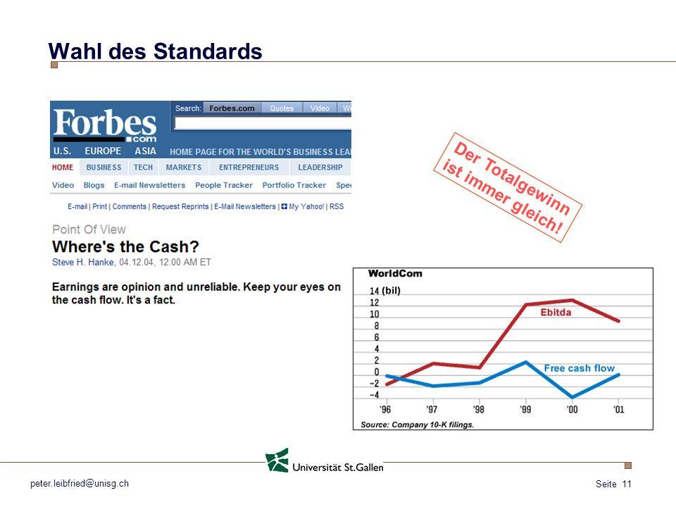 Seite 11 peter.leibfried@unisg.ch Wahl des Standards Der Totalgewinn ist immer gleich!