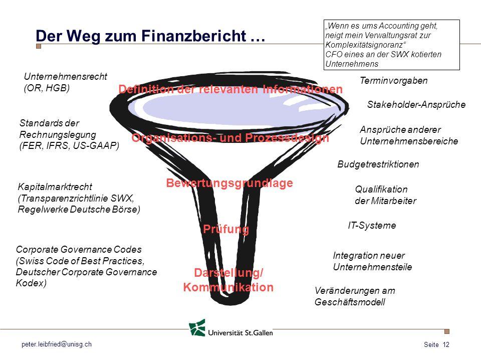 Seite 12 peter.leibfried@unisg.ch Der Weg zum Finanzbericht … Definition der relevanten Informationen Unternehmensrecht (OR, HGB) Standards der Rechnu