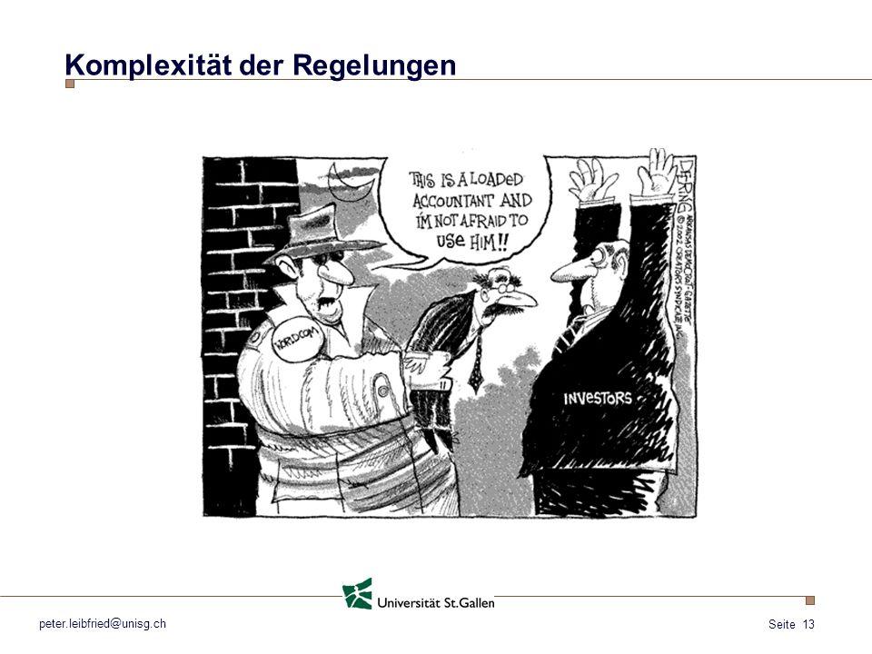 Seite 13 peter.leibfried@unisg.ch Komplexität der Regelungen