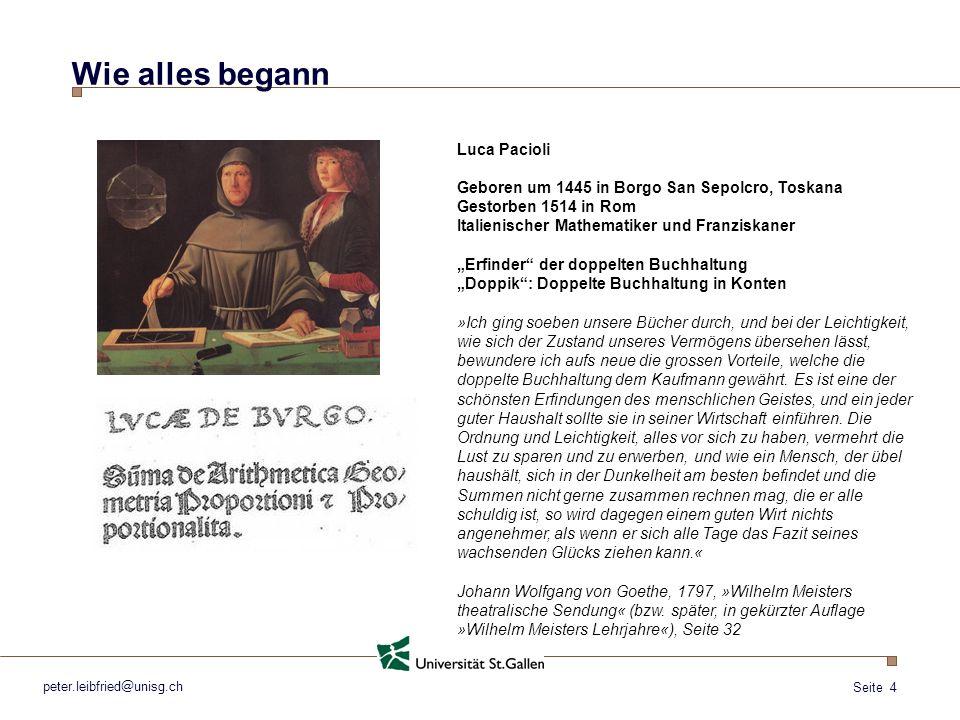 Seite 4 Wie alles begann Luca Pacioli Geboren um 1445 in Borgo San Sepolcro, Toskana Gestorben 1514 in Rom Italienischer Mathematiker und Franziskaner