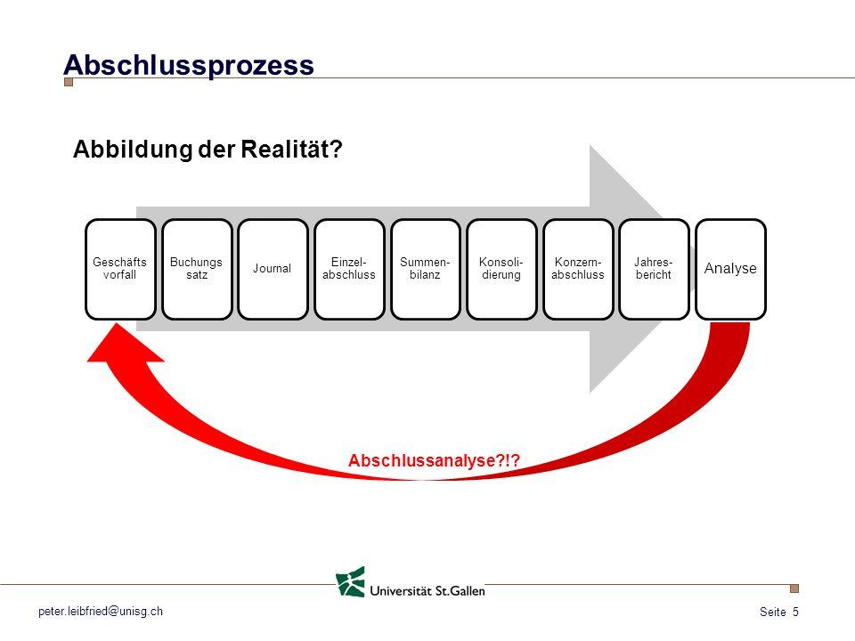 Seite 5 peter.leibfried@unisg.ch Abschlussprozess Geschäfts vorfall Buchungs satz Journal Einzel- abschluss Summen- bilanz Konsoli- dierung Konzern- a