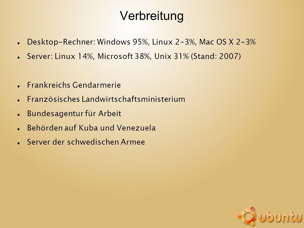 Verbreitung Desktop-Rechner: Windows 95%, Linux 2-3%, Mac OS X 2-3% Server: Linux 14%, Microsoft 38%, Unix 31% (Stand: 2007) Frankreichs Gendarmerie F