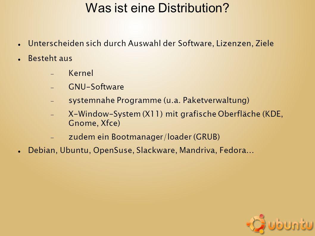 Was ist eine Distribution? Unterscheiden sich durch Auswahl der Software, Lizenzen, Ziele Besteht aus Kernel GNU-Software systemnahe Programme (u.a. P