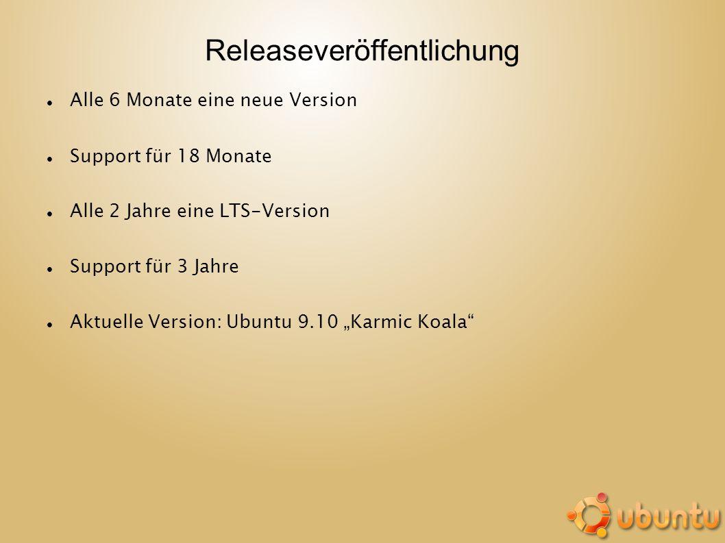 Releaseveröffentlichung Alle 6 Monate eine neue Version Support für 18 Monate Alle 2 Jahre eine LTS-Version Support für 3 Jahre Aktuelle Version: Ubun