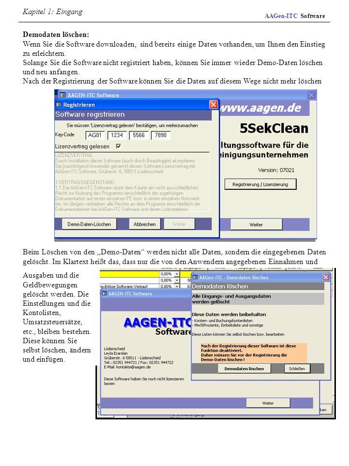 AAGen-ITC Software Demodaten löschen: Wenn Sie die Software downloaden, sind bereits einige Daten vorhanden, um Ihnen den Einstieg zu erleichtern. Sol