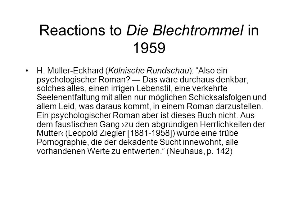 Reactions to Die Blechtrommel in 1959 H.