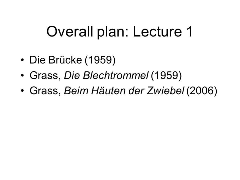 Lecture 2 Theories of memory (Benjamin, Assmann) Wenn der Vater mit dem Sohne (starring Heinz Rühmann) (1956) Sebald, Austerlitz (2001) Jelinek, Die Kinder der Toten (1995)
