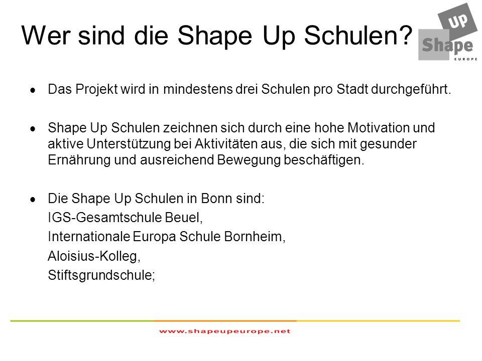 Wer sind die Shape Up Schulen? Das Projekt wird in mindestens drei Schulen pro Stadt durchgeführt. Shape Up Schulen zeichnen sich durch eine hohe Moti