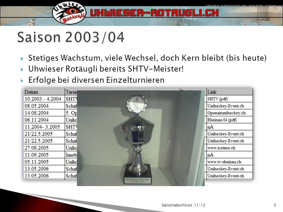 3 Stetiges Wachstum, viele Wechsel, doch Kern bleibt (bis heute) Uhwieser Rotäugli bereits SHTV-Meister.