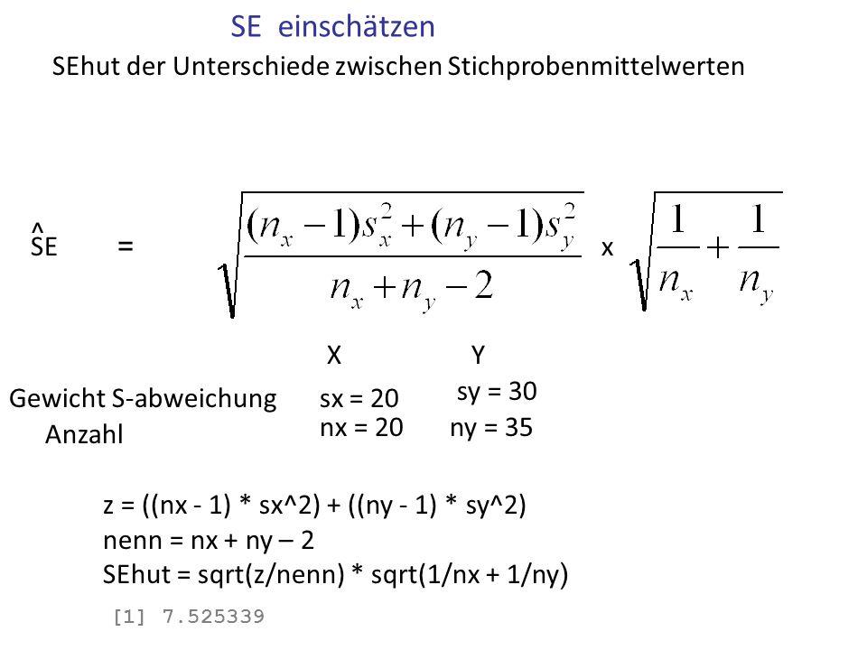 SE einschätzen Gewicht S-abweichungsx = 20 Anzahl nx = 20ny = 35 sy = 30 XY xSE = ^ z = ((nx - 1) * sx^2) + ((ny - 1) * sy^2) nenn = nx + ny – 2 SEhut