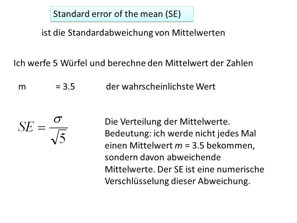 Standard error of the mean (SE) ist die Standardabweichung von Mittelwerten Ich werfe 5 Würfel und berechne den Mittelwert der Zahlen m= 3.5der wahrsc